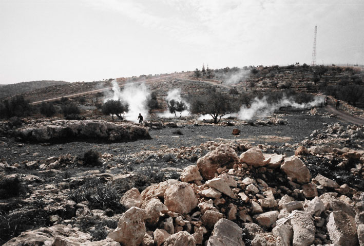 Tear gas fired at demonstrators by Israel army, Bil'in