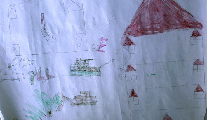 Children draw the war, Jabaliya, Gaza