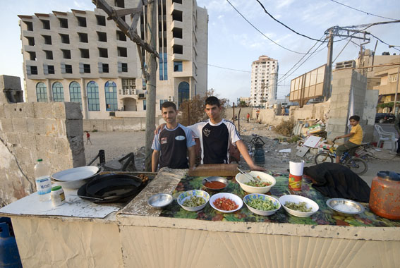 food sellers, gaza city beach
