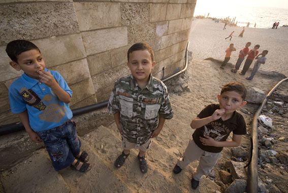 kids at Gaza city beach