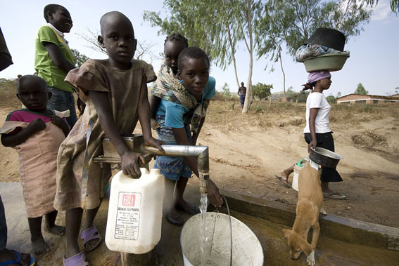 Collecting water, Kayelekera Village, northern Malawi